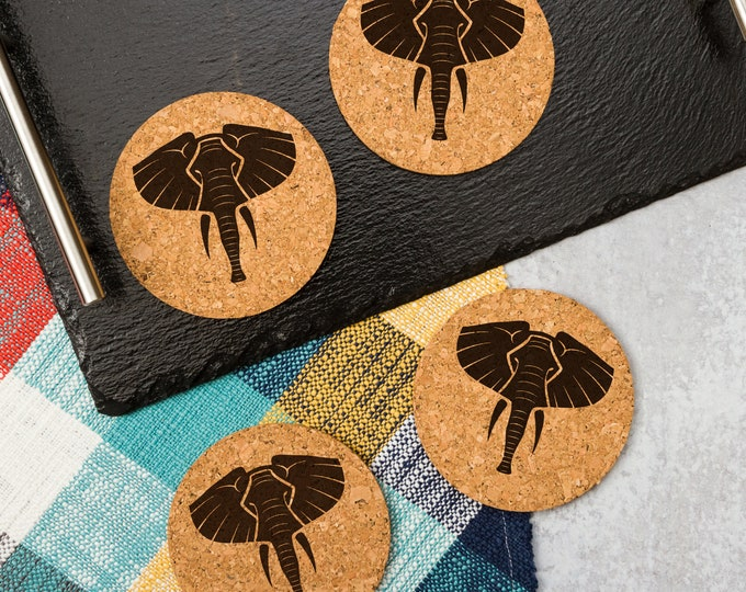 Tribal Elephant Cork Coasters   Cork Coaster Set   Bar Coasters   Laser Engraved   Housewarming Gift