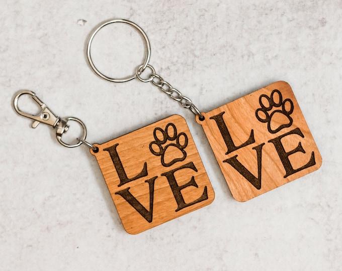 Wooden Love Keychain | Charity Listing | Donation Listing | Dog Paw Keychain | Wooden Keychain | Laser Cut Keychain