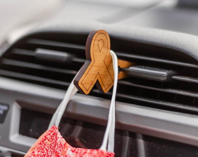 Cancer Ribbon Car Mask Clip | Car Organization | Face Mask Hanger | Face Mask Organization | Laser Cut | Car Mask Hanger | Mask Accessories