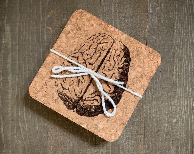 Brain Illustration Cork Coasters   Cork Coaster Set   Bar Coasters   Laser Engraved   Housewarming Gift