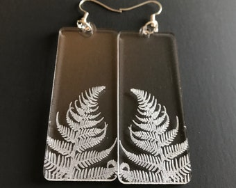 Laser Engraved Fern Earrings on Clear Acrylic - Botanicals Series V01