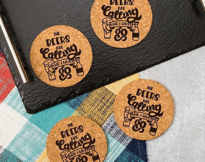 Beers Are Calling Cork Coasters   Cork Coaster Set   Bar Coasters   Laser Engraved   Housewarming Gift