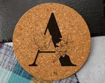 Floral Monogram - Cork Trivet