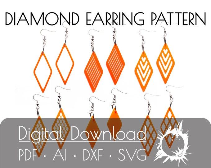 Diamond Earring Pattern | Earring Cut File | Commercial License | Digital Download | Cut File | Glowforge | Laser Printer | Cricut