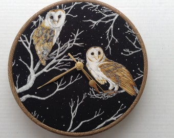 Barn Owl Black Silver Cotton Fabric Covered  20cm 8 inches Wall Clock With Brown Frame