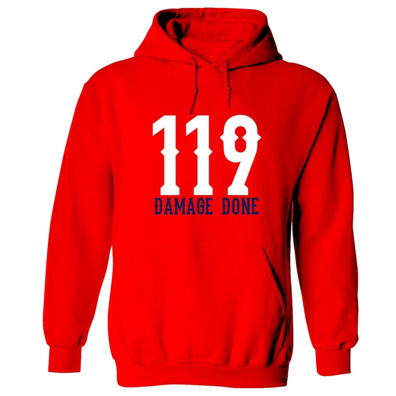 super popular 8d640 ed0a2 Boston Red Sox inspired, Damage Done 119, Champion Hoodie