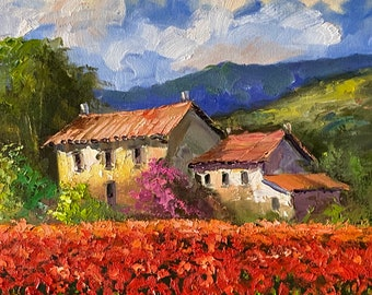Impressionism Between the gold and the red colors Original painting Size 50 x 70 cm Between the sunflowers and the peonies of Tuscany