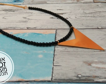 black necklace, geometric necklace , gift for her, gift for mom.
