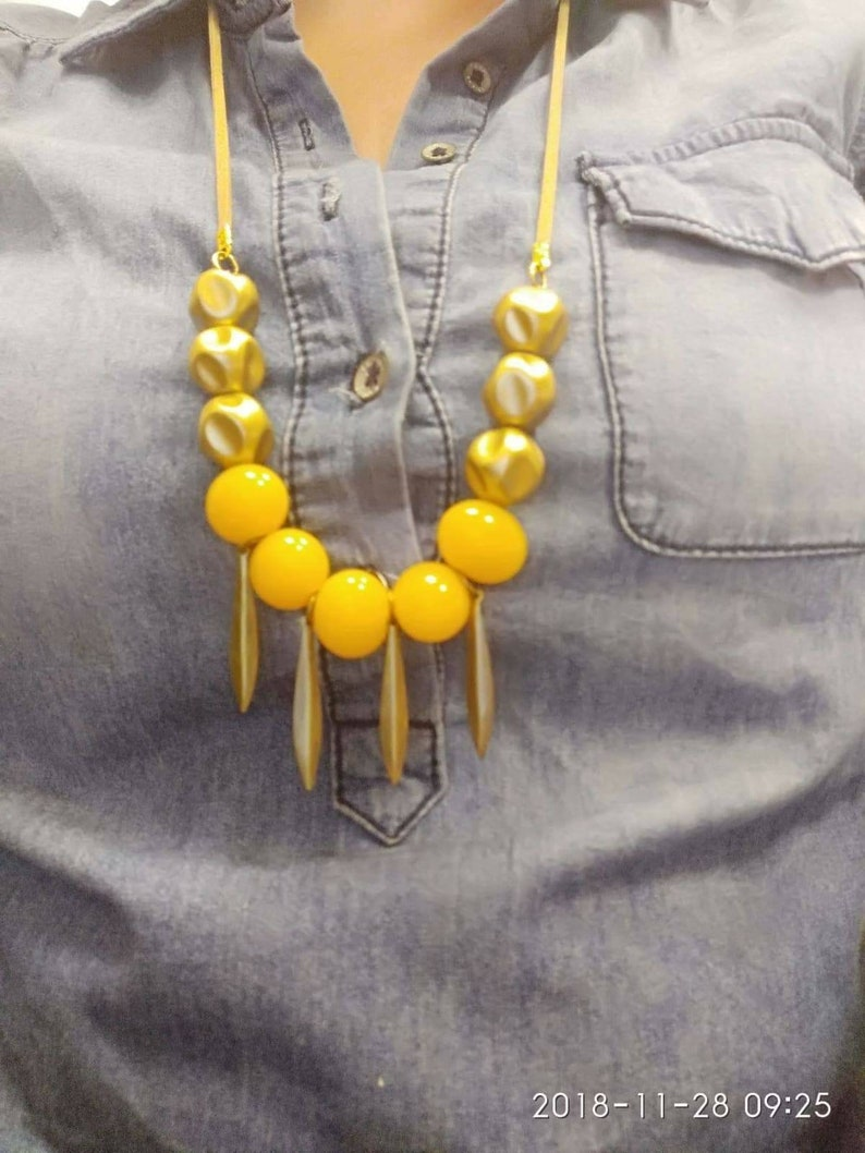 Statement Necklace,Mustard necklace,Boho necklace,Tropical necklace,Unique jewelry,,Colorful african necklace,Beaded necklace,Gift for her
