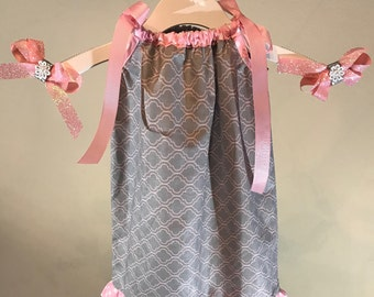 Girls Gray and Pink Pillowcase dress- Includes matching hair bows-Size 6 months, 9 months, 12 months, 18 months, 2T and 3T