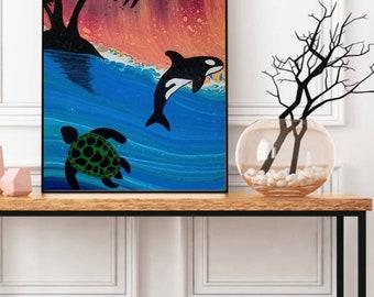 Island Life, Acrylic Painting, Fluid Art, Abstract, Home Decor, Modern Art, Original Art, Canvas, Painting, Ocean, Whale, Turtle, Palm Tree