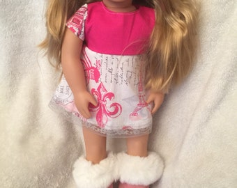 """Pink and white Ugg style boots for 18"""" dolls, fits like American Girl"""