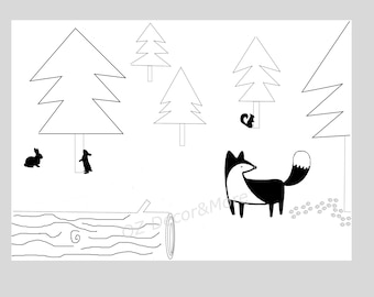 Black & White forest animals- The Woodland collection