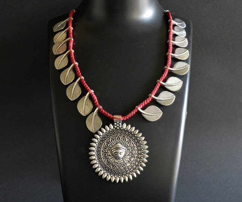 Oxidised Threaded Necklace Indian Silver Necklace Set Bohemian Afghani Necklace Bollywood Jewelry Ethnic German Silver Necklace