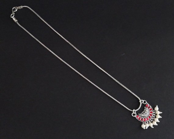 Afghani Necklace German Silver Necklace Indian Jewelry Oxidised Necklace in Chain Indian Silver Necklace Set Ethnic Bollywood Jewelry