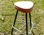Vintage Mid-Century Metal Kitchen or Bar Stool Plant Stand with Orange Plastic Seat