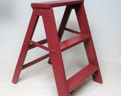 Vintage Red Three Step Ladder Plant Stand