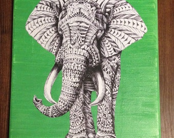 Tribal elephant on canvas