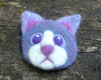 Purple Cat Face - Needle Felted Patch