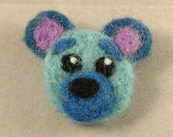 Blue Teddy Face - Needle Felted Pin
