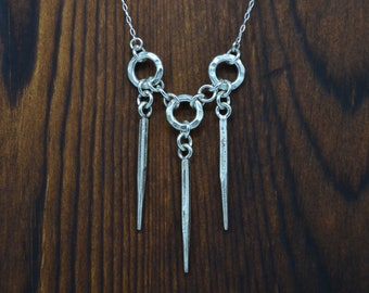 Three Ring Three Spike Hill Tribe and Sterling Silver Necklace