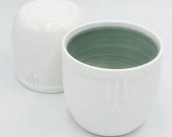 Pair of art deco ceramic espresso cup in mist grey and speckled eggshell glaze