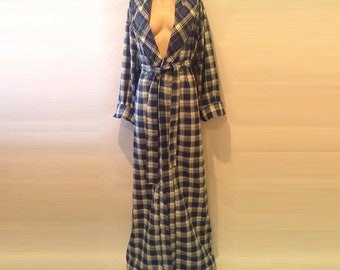 Flannel Robe Kimono Bridesmaid Warm Bathrobe Tall Womens Floor Length Plaid Robes Long