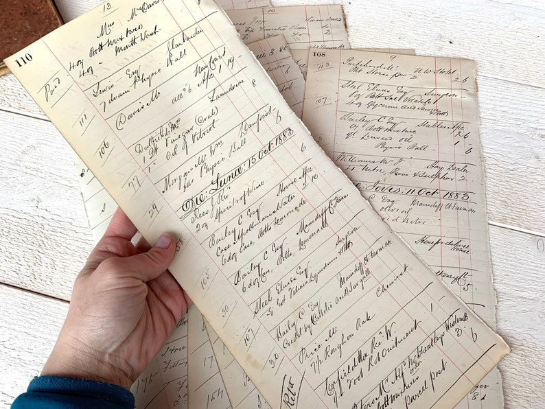 Calligraphy Antique Handwritten Ledger 1800s Large extra tall sheets Junk journal ephemera Mixed media collage Vintage pharmacy record