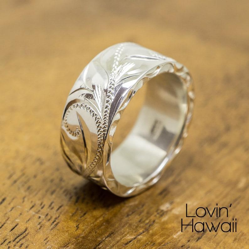 8mm Custom made Hawaiian Wedding Engagement Silver Ring
