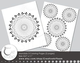 Mandala Coloring Pages 3 US Letter Size 85x11 Instant Download PDF And JPG Files Printable