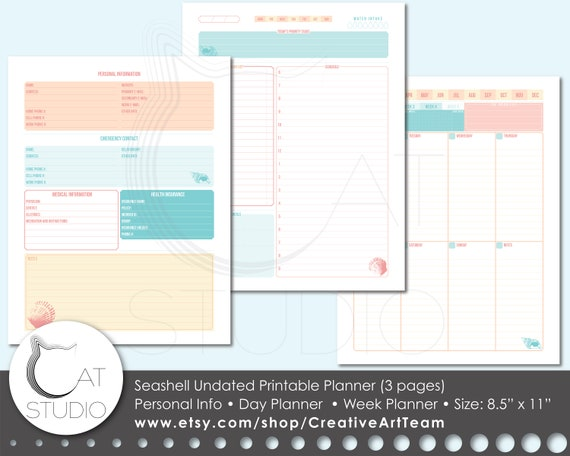 image relating to Week Planner Sheet referred to as Seas Planner. Undated. Printable. Individual data, weekly planner and everyday planner sheets. U.S. letter measurement (8.5\