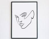 Reinvent, Female Face Print, One Line mask, Feminine Continuous Lines, Minimalist Artwork, Face Line Art, Modern Wall Art, Decor