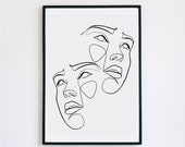 Double portrait, Female Face Print, One Line mask, Feminine Continuous Lines, Minimalist Artwork, Face Line Art, Modern Wall Art, Décor