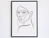 Sensual, Female Faces Print, Printable One Line Drawing, Gemini, twins, twin art, Gemini wall art, minimalist, printable minimalism, woman