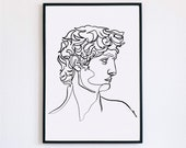 David, sculpture, decor, Printable One Line Drawing, masculine Greek, Minimalist Artwork, Face Line Art, Modern Wall Art, renaissance