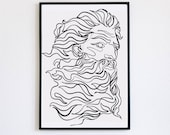 Zeus, God of thunder, sculpture, Printable One Line Drawing, masculine Greek, Minimalist Artwork, Greek god, Modern Wall Art, renaissance,