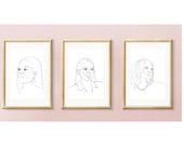 past, present, future, Strong democrat women, Kamala Harris, Alexandria Ocasio-Cortez, Michelle Obama, printable, triptych, art