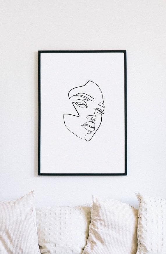 Ghost, Female Face Print, One Line mask, Feminine Continuous Lines, Minimalist Artwork, Face Line Art, Modern Wall Art, Decor