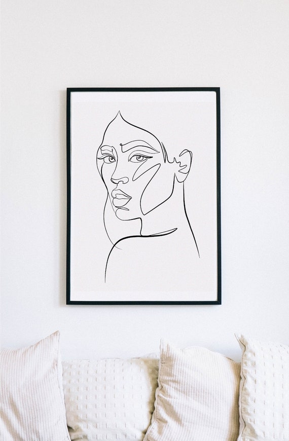 Sensual, Female Faces Print, Printable One Line Drawing, Gemini, twins, twin art, Gemini wall art, minimalist, printable minimalism, woman