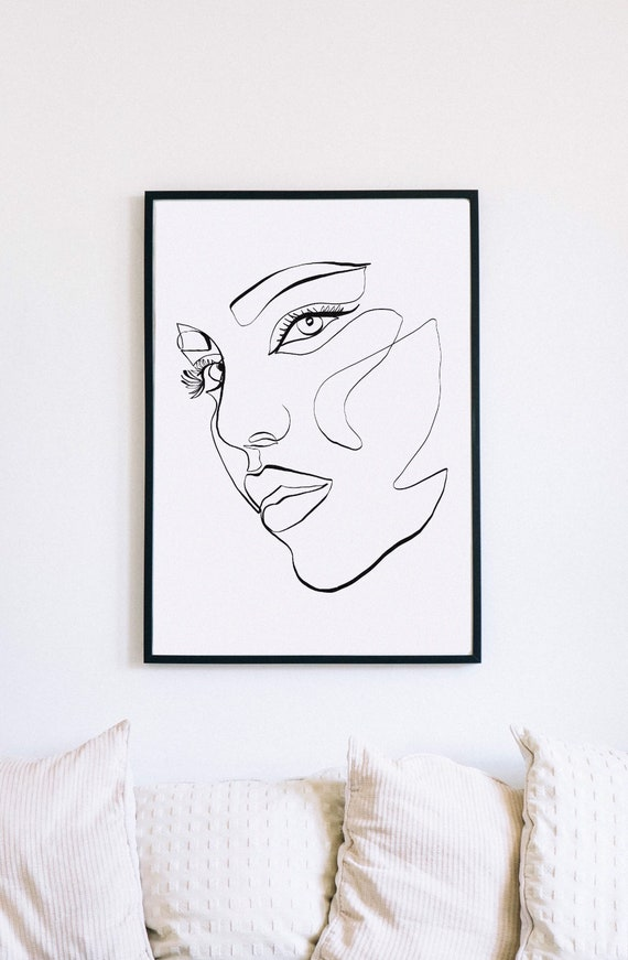 Abstract Female Face Print, Printable One Line Drawing, Feminine Continuous Lines, Minimalist Artwork, Face Line Art, Modern Wall Art, Decor
