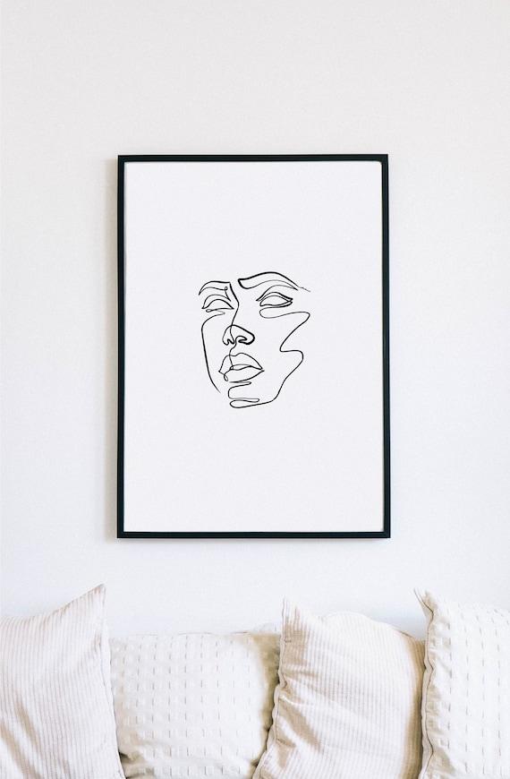 masquerade, Female Face Print, One Line mask, Feminine Continuous Lines, Minimalist Artwork, Face Line Art, Modern Wall Art, Decor