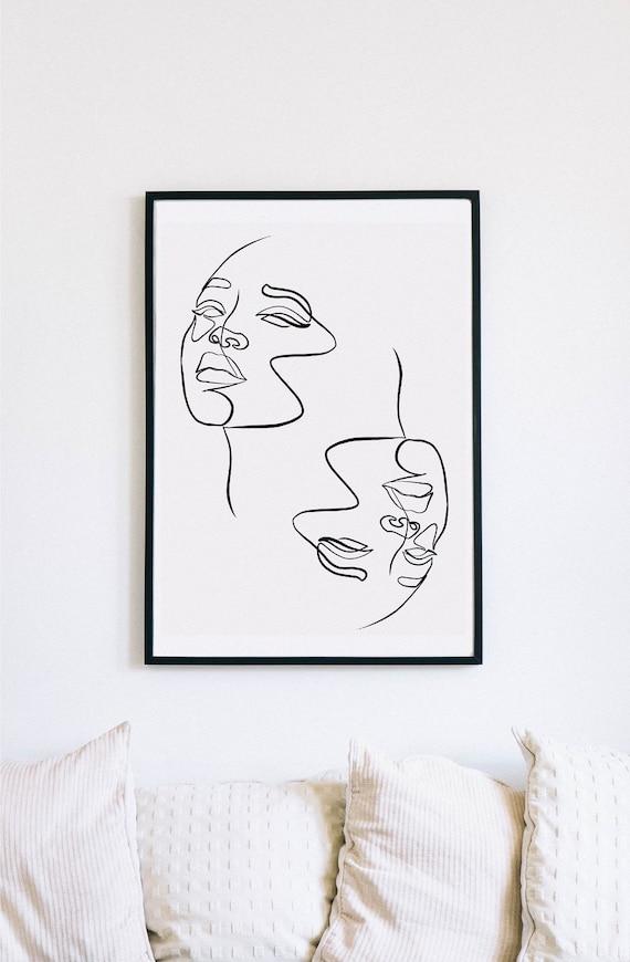 Pair, Female Faces Print, Printable One Line Drawing, Gemini, twins, twin art, Gemini wall art, Wall décor, printable minimalism, minimalist