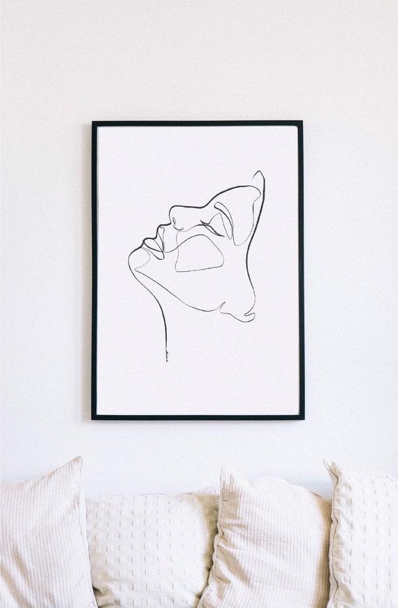 Profile Female Face Print, Printable One Line Drawing, Feminine Continuous Lines, Minimalist Artwork, Face Line Art, Modern Wall Art, Decor