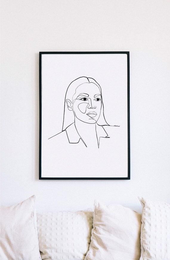 AOC, Alexandria Ocasio-Cortez Printable One Line Drawing, Feminine, Minimalist Artwork, Face Line Art, Feminist Wall Art, Decor