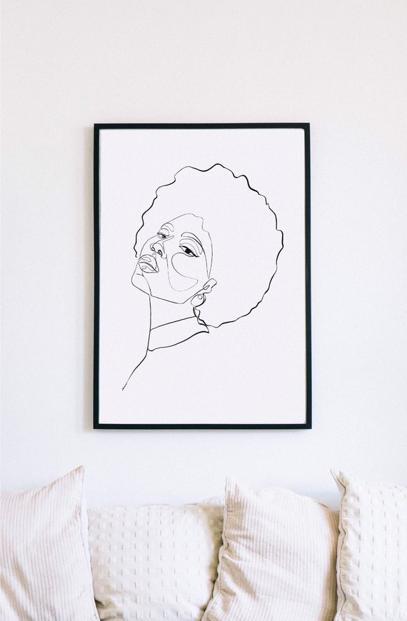Black woman don't touch my hair, Printable One Line Drawing, Continuous Lines, Minimalist Artwork,Modern Wall Art, Abstract