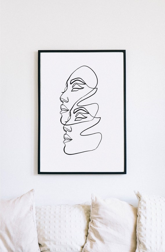 Abstract Female Face Print,Printable One Line Drawing, Gemini, twins, twin art, Gemini wall art, Wall décor,printable minimalism, minimalist