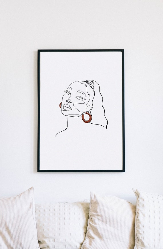 ponytail style, black woman, one line drawing, black minimalism, black girl magic, black beauty illustration, black hair art, printable