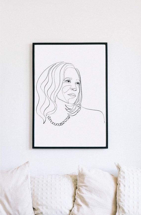 Kamala, Kamala Harris, Printable One Line Drawing, Feminine, Minimalist Artwork, Face Line Art, Feminist Wall Art, Decor, Democratic women