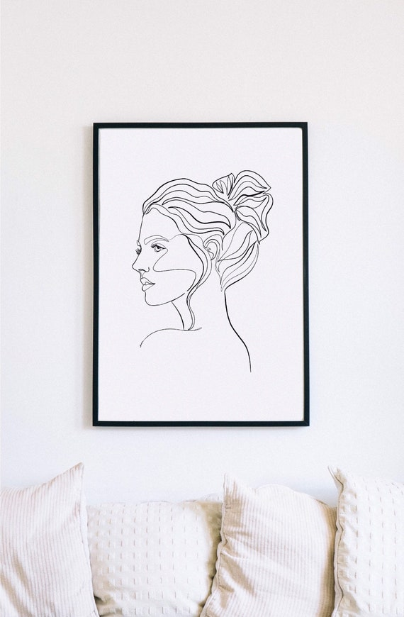 one line drawing. one line face, feminine minimalist portrait, one line hair drawing, printable one line decor, profile