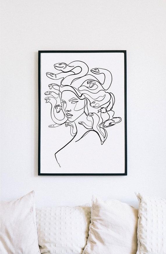 Medusa, Greek Mythology, Printable One Line Drawing, Feminine Continuous Lines, Minimalist Artwork, Face Line Art, Modern Wall Art, Decor